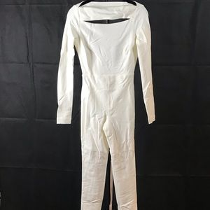 White slim fit jumpsuit